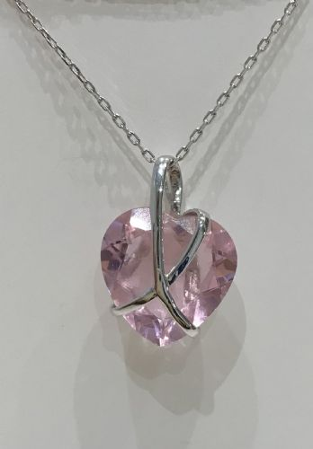 White Gold Pink Quartz Hidden Heart Within A Kiss Necklace